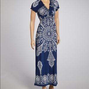 Navy blue shirred dress 3x (2x) plus maxi long